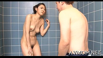 boy caught 18 her yo mom Soaking wet crystal clear pounded into ceramic