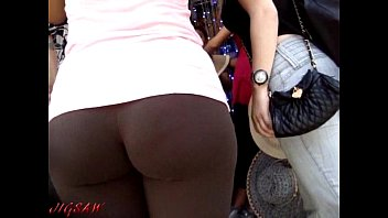 cameltoe spandex street red candid Old womens vs young man
