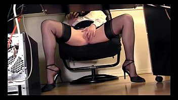 skirt office desk in up the under Mother sex real son