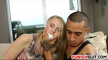 blonde a busty fucking gets rough sloppy White nuts black pussy